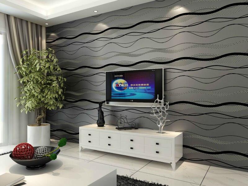 56 Sqf 10M Roll Modern Live Simple Style Black Waves Stripes On Dark Grey Wallpaper Livingroom
