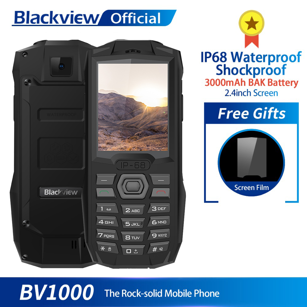 Blackview BV1000 IP68 Waterproof Shockproof Rugged Mobile Phone 2.4inch MTK6261 3000mAh Dual SIM Mini Cell Phone Flashlight feature phone