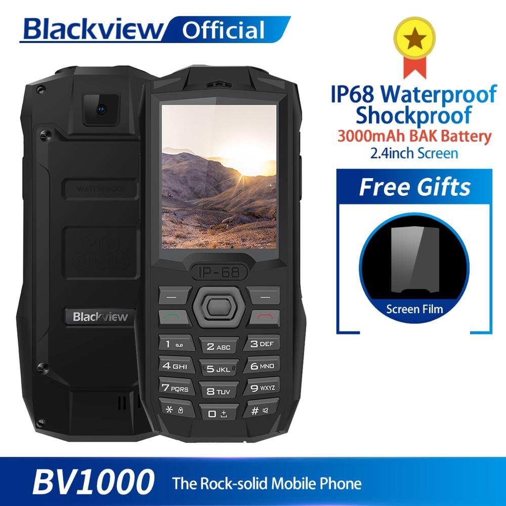 Blackview a BV1000 IP68 impermeable a prueba de golpes a prueba resistente teléfono móvil 2,4 pulgadas MTK6261 3000 mAh Dual SIM Mini teléfono celular linterna