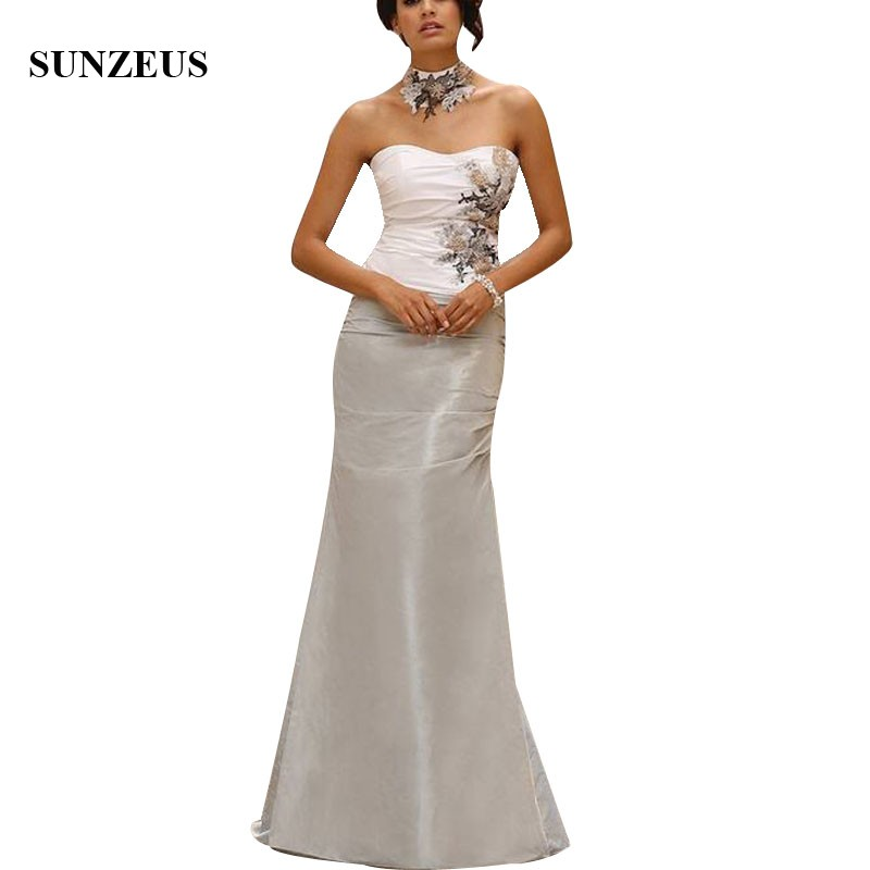 Ivory Silver Two Colors Mother Of The Bride Dresses Straight Sweetheart Long Wedding Party Gowns With Appliques Beads CM0137
