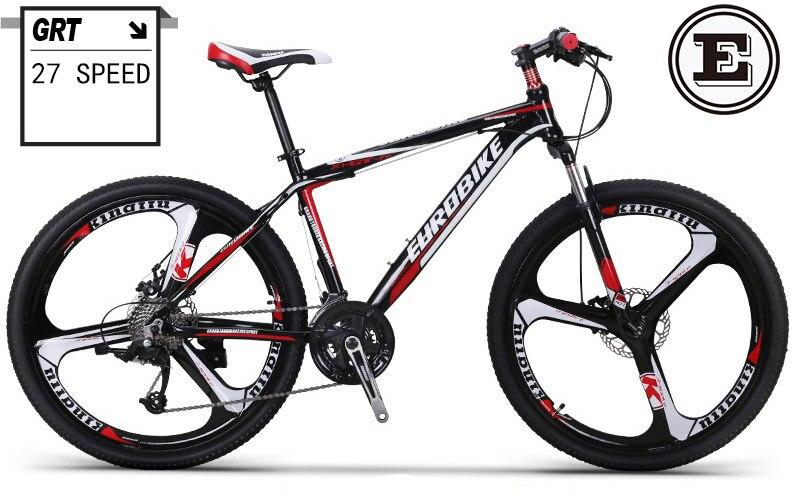 2e8e9c7bf EUROBIKE 26 polegada mountain bike linha de freio a disco 27 velocidade mtb  bicicleta de alumínio frame da liga de 160 185 cm piloto suepension garfo  em ...