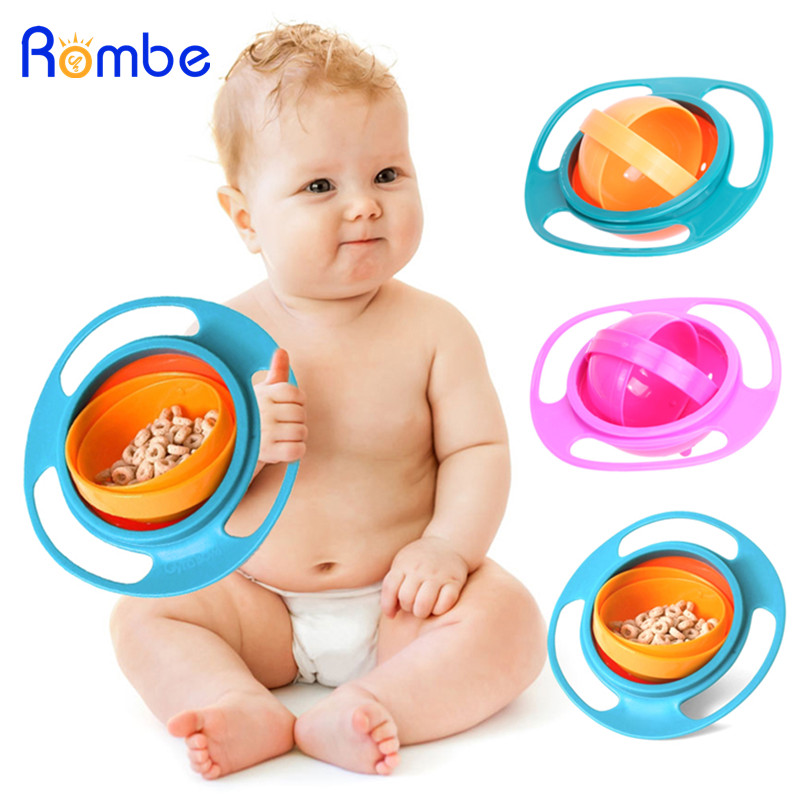 Baby Feeding Bowl Universal Gyro Bowl 360 Rotate Spill-Proof Dishes Toddler Food Dinnerware For Baby Eating Training Gyro Bowl