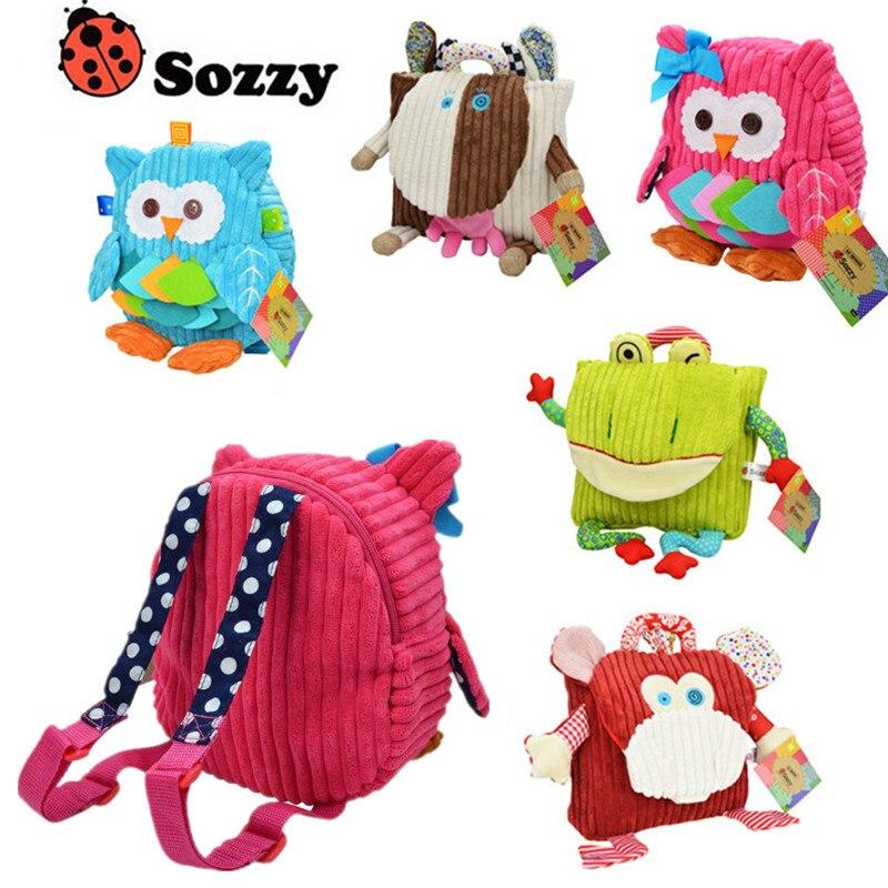 Sozzy Cute Kid Plush School Backpacks 25cm Animal Figure Bag Kid Girls Boys Gifts Toy Owl Cow Frog Monkey Cartoon shape Schoolba