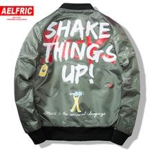 AELFRIC bombardero chaqueta hombres chaqueta estampado Graffiti vuelo  Outwear 2018 Hip Hop Ma-1 de d554ea1635b