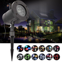 Mini Christmas Lights Outdoor Waterproof LED Laser Snowflake Projector 12 Film Cards Fairy Light New Year Decor for Home Garden