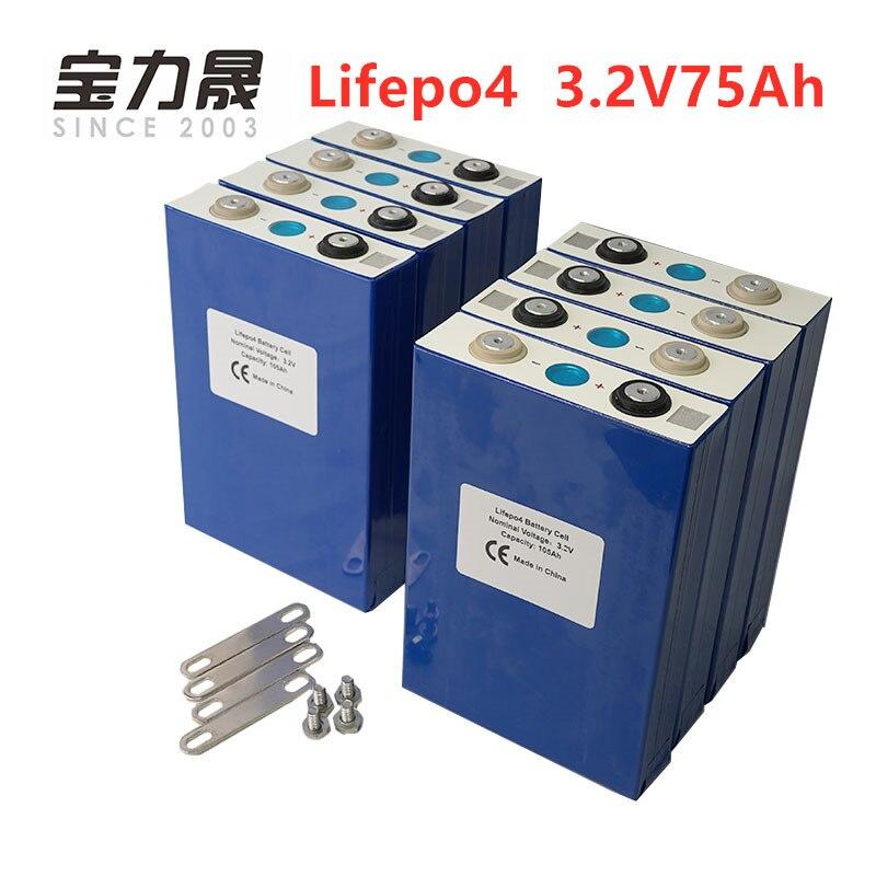 8PCS NUOVO 3.2V 75Ah lifepo4 batteria 24V CELLA Prismatica 12V80Ah per EV RV batteria solare fai da te REGNO UNITO STATI UNITI UE TASSA LIBERA di UPS o FedEx