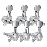 6 Pcs Set 3R 3L Chrome Electric Acoustic Guitar String Tuning Pegs Locking Tuners Keys Machine