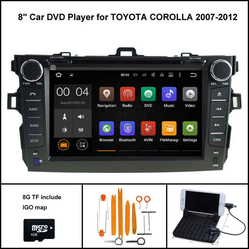 Quad Core Android 7.1 CAR DVD GPS for TOYOTA COROLLA 2007-2012 car stereo car gps Capacitive touch screen 16GB Rom