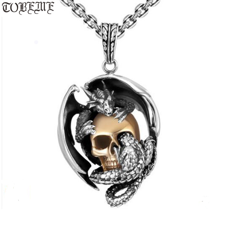 925 Silver Skeleton Pendant Necklace Vintage 925 Sterling Silver Skull Pendant Necklace Man Pendant Punk Jewelry