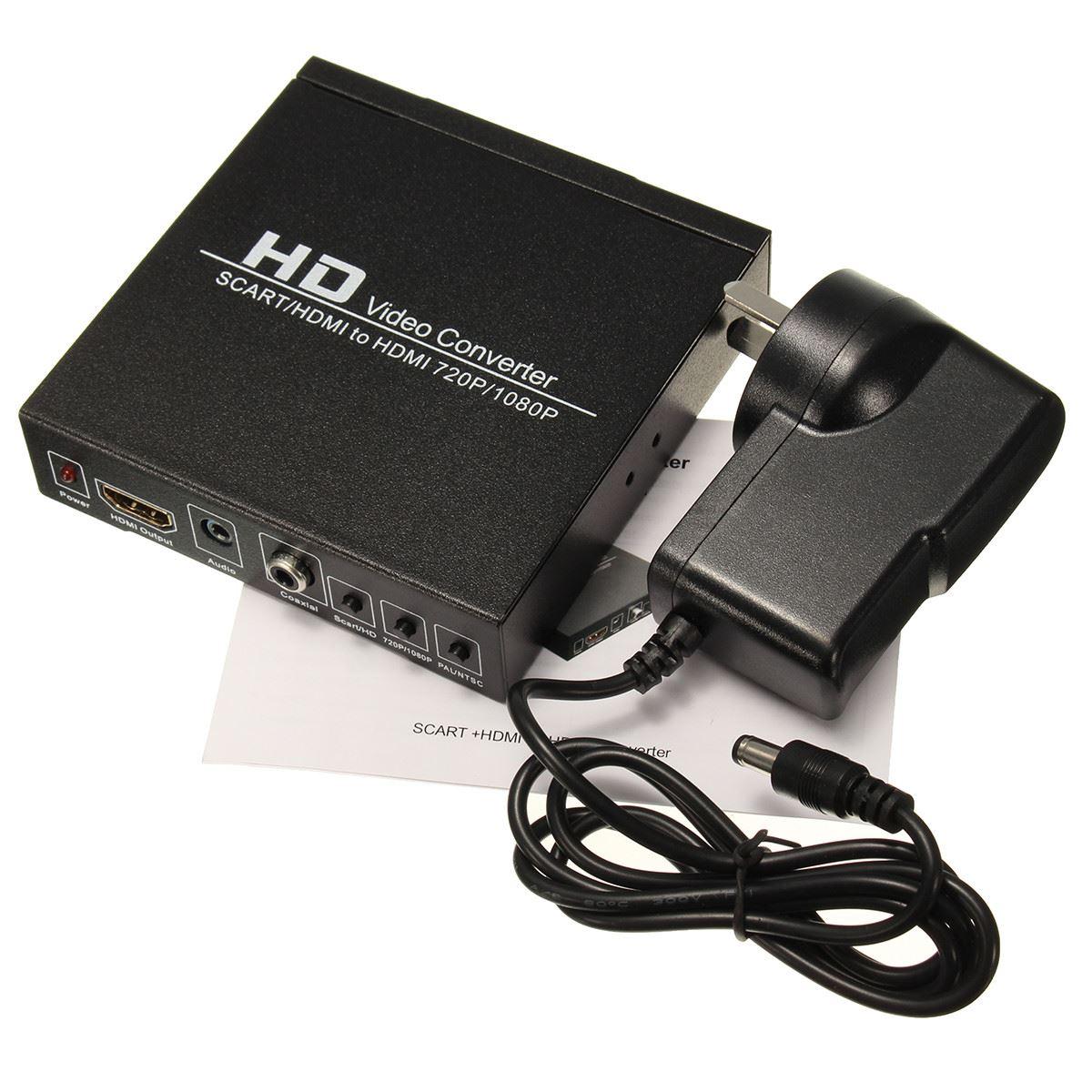 Prix pour L'UE UKAU Plug Full HD 1080 P PÉRITEL/HDMI à HDMI Boîte Vidéo Convertisseur Avec Adaptateur Boîte