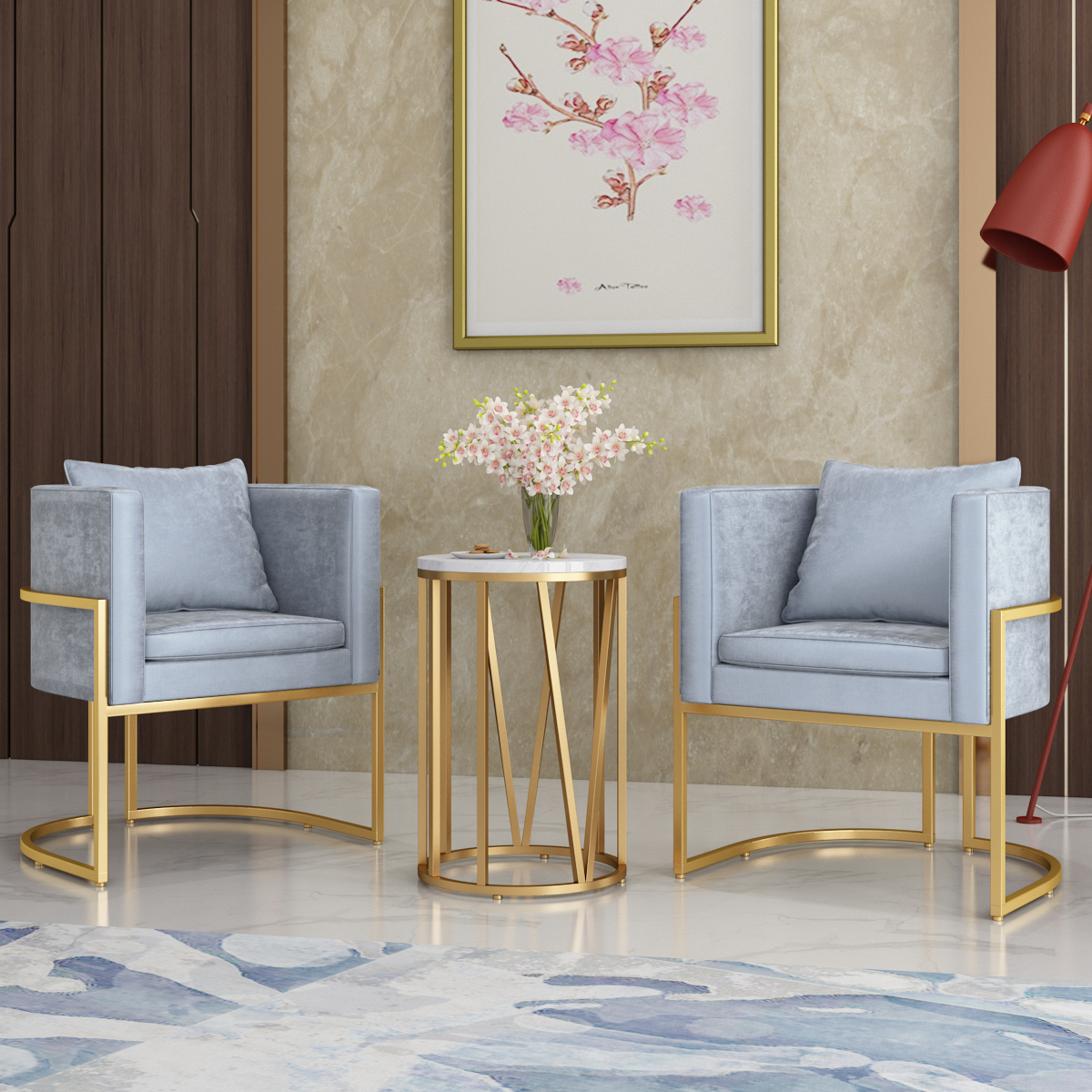 Nordic Wrought Iron Single Sofa Chair Golden Chair Cafe