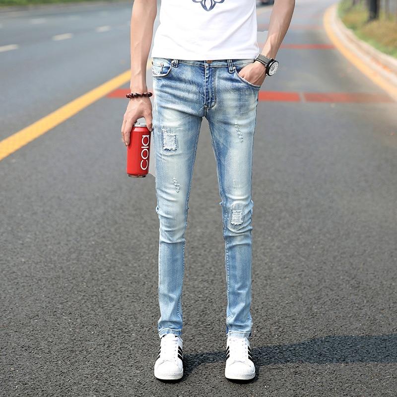 Online Shop skinny jeans men light blue vintage slim fit denim ...