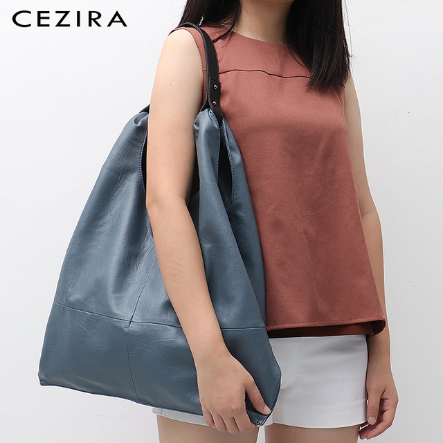 CEZIRA Large Hobo Bags Women Vegan Leather Shoulder Bags Soft High Quality PU Fashion Casual Style Ladies handbags Shopping Bags 5