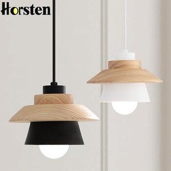 Horsten Nordic Japanese Modern Pendant Lights Creative Wooden Iron Dining Room Pendant Lamp Hanging Lights For Living Room E27