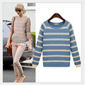 2016 spring new fashion striped long-sleeved round neck hedging shirt, knit sweater Size