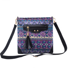 ONEFULL NEW FASHION Women shoulder bag canvas vintage tassel national print zipper geometric girls leisure holiday bags