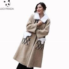 Real Lamb Fur Coat New Winter Jacket Women Clothes Real Fur Coat Vintage Mink Fur Collar Sheep Shearling Wool Coat Long Coats