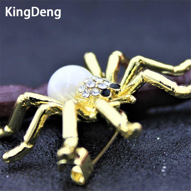 KingDeng Rhinestone โลหะเปลือก Spider เข็มกลัดผู้หญิงผู้ชายแมลงสัตว์เข็มกลัด Pins แฟชั่นจัดเลี้ยงหมวกผ้าพันคอ Pins