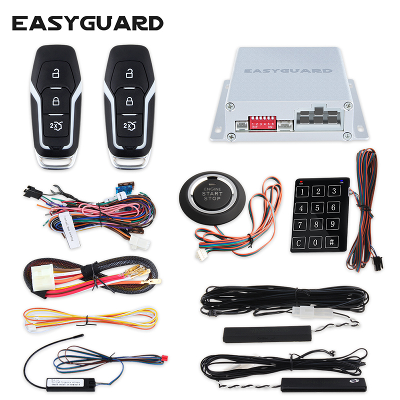 Quality EASYGUARD PKE passive keyless entry car alarm system remote engine start push button start stop touch password entry car alarm system pke smart key touch password entry power saving remote engine start starter push start stop button dc12v