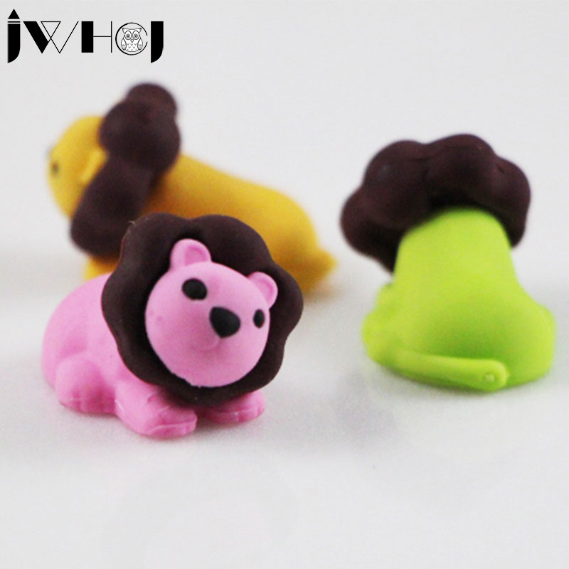 3 Pcs/lo JWHCJ Cute Cartoon Lion Removable Eraser Kawaii Stationery School Office Supplies Correction Supplies Child's Toy Gifts