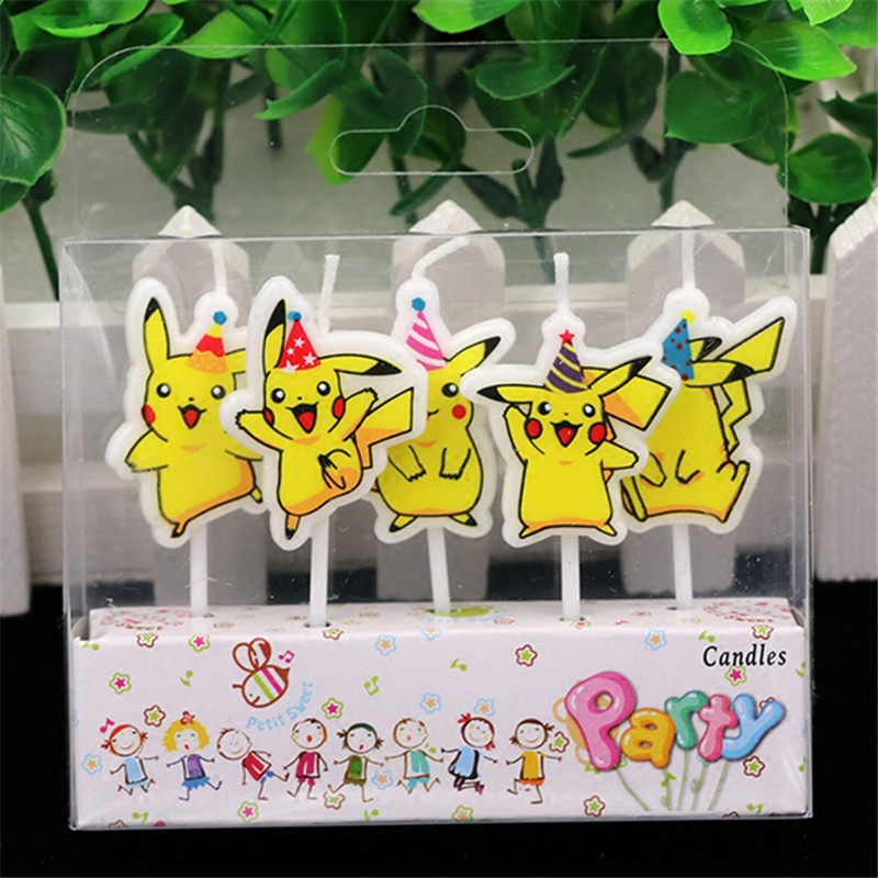 5pcs lot 18 8 5 3cm pokemon go pikachu candles kids birthday party supplies baby shower cake. Black Bedroom Furniture Sets. Home Design Ideas