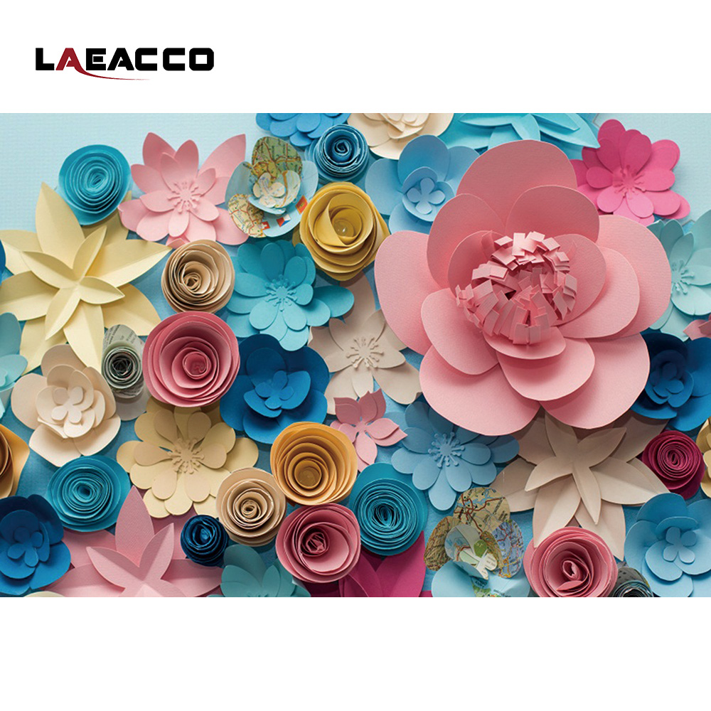 Best Laeacco Colorful Blooming Paper Flowers Wall Photo Backgrounds