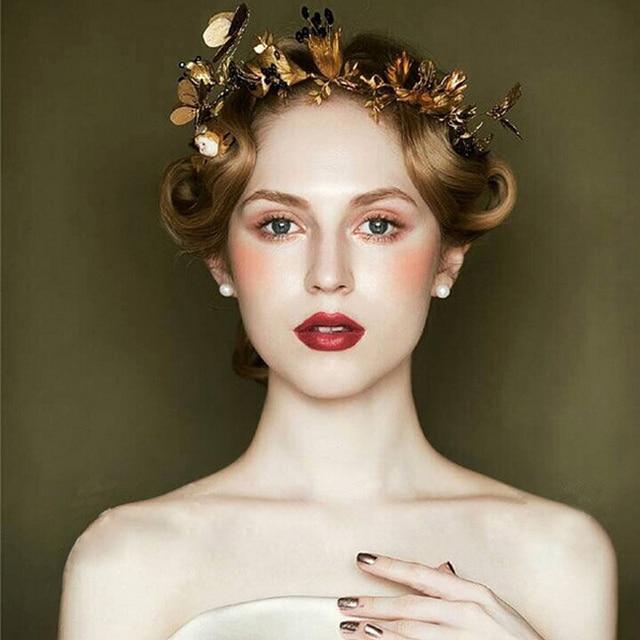 Retro Bridal Crowns Vintage Wedding jewelry golden baroque ornaments