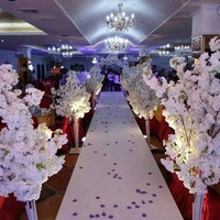 Party aisle Grant Event Road Lead Wedding Flower Stand centerpieces Cherry Flower Tree Road Arch Bride Groom Photographing Props