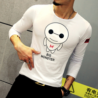 Special Cute Kartoon Printing Mens T Shirt Fashion Long Sleeve O Neck Casual T Shirts Men Brand High Quality Cotton Undershirt