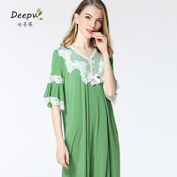 Sleepshirts Fashion Female Lace Nightgown Princess Nightdress Royal Vintage Ladies Sleepwear Green Dress Women Indoor Clothing