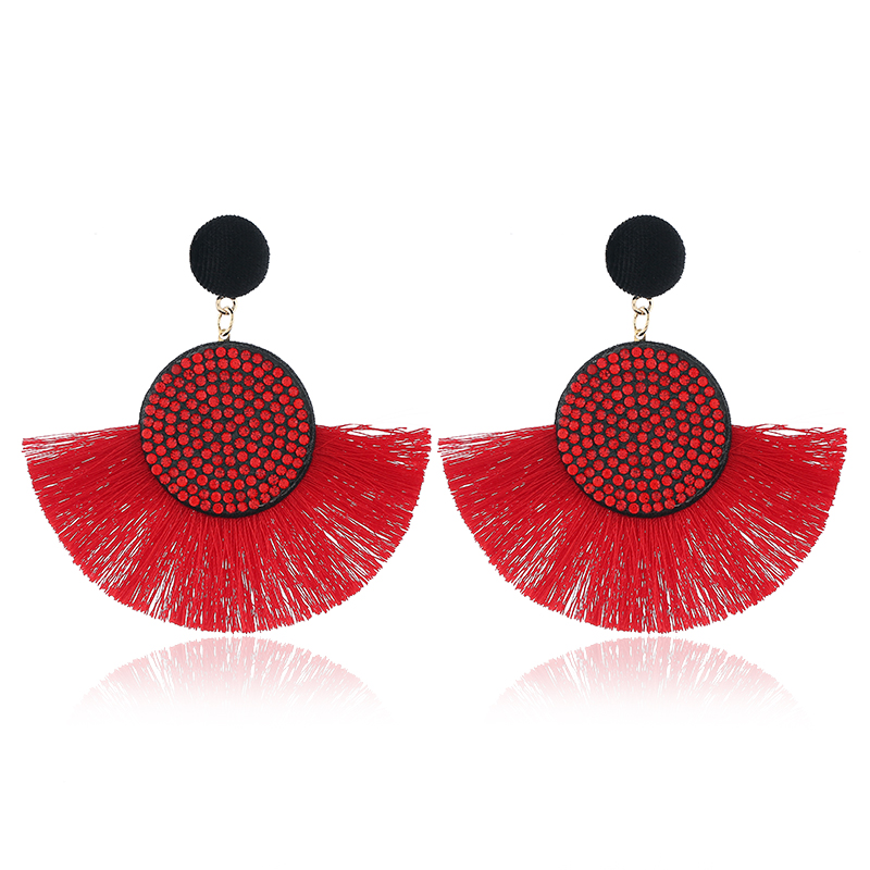 Red bohemian earrings for women statement earring 2019 handmade hanging crystal fringe eaings ethnic summer fashion jewelry