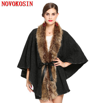 Faux Cashmere Thick Tie Coat Winter Long Faux Raccoon Fur Neck Cardigan Hairy Poncho Warm 2018 Women Casual Loose Pashmina women black tassel faux fur ball long soft faux cashmere triangle cardigan winter warm thick scarf 2018 double side solid shawl