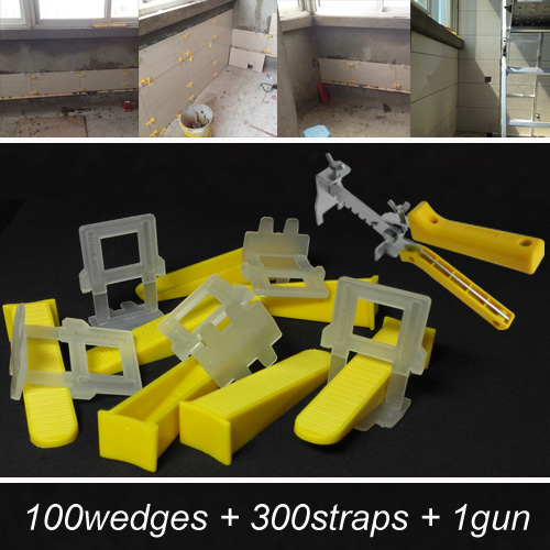 ФОТО Tile leveling system  for the flooring- make the floor and  tile level and spacer tools-include 100wedges 300straps 1gun=ZF-W100