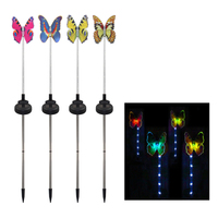 4Pcs Fairy Party Garden Wedding Outdoor Waterproof Home Color Changing Lawn Holiday Solar Light Yard Butterfly Shaped Decoration