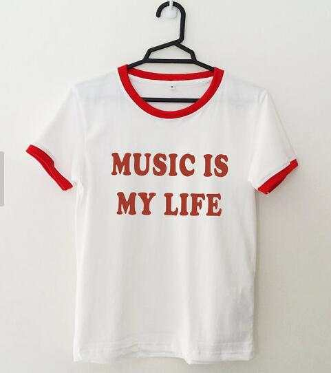 09dd08b42d79d  Music is my life  Red Letter Casual T-Shirt Fashion Tumblr Crewneck Tees.