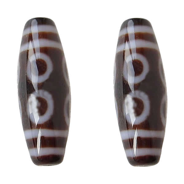 Natural Tibetan Dzi Beads for making diy Jewelry Oval, eight-eyed & two tone Grade AAA 13x39mm, Sold By PC