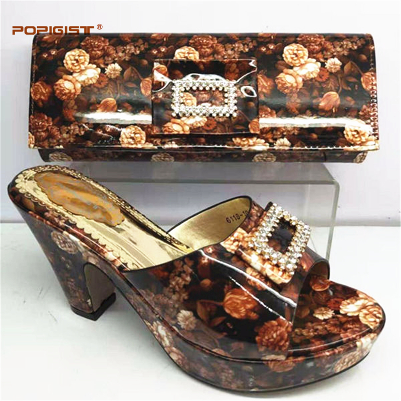 Italian Design Pretty Shoes And Large Bag Set For Wedding Nigeria Brown Color Pumps Shoes And