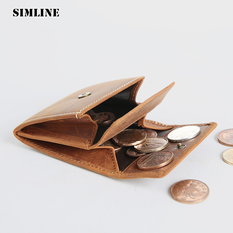 SIMLINE Brand Vintage Casual 100% Genuine Leather Cowhide Men Women Small Mini Coin Purse Wallet Wallets Pocket Case Storage Bag simline vintage handmade genuine leather cowhide cover a6 loose leaf traveler s notebook diary passport holder cover wallet men