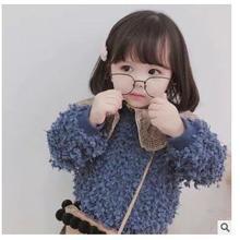 Детская одежда,, зимний утепленный бархатный пуловер для девочек, теплое пуховое пальто с мехом