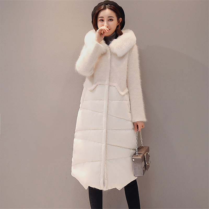 Big fur collar   Down   jacket Female New velvet stitching long Fashion white duck   down   Slim Women   Down     Coat   Winter Parka YP2160