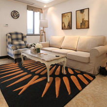 ALITEXTILEBTOC  100% Acrylic Simple Brown Striped Black Rectangular Carpet Suitable For Living Room Bedroom Comfort