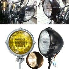 Universale Dell'annata Bates Luce Della Testa Della Lampada del Motociclo di Stile H4 Lampadina Per Honda Kawasaki Harley Chopper Sportster Softail Custom