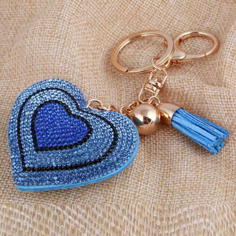 ZOSHI милый кулон-сердце брелок Золотой/Серебряный горный хрусталь кисточкой автомобильный брелок красивое кольцо для ключей держатель аксессуары подарок