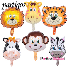 50pcs mini animal balloons birthday party decoration Lion & monkey & zebra & cow head Safari zoo foil balloons Classic toys