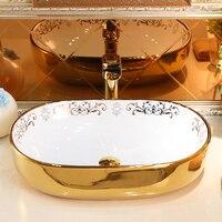 Ceramic above counter basin art basin oval European bathroom washbasin washbasin modern minimalist retro sink lo8271012