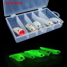 5pcs Night Luminous Fishing Lures Fat VIB Pencil Bionic Fishing Lures Night Luminous Fishing Tackle Box