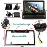 Car Styling Parking System with Auto Rear View Camera 4.3'' Foldable Monitor Wireless Transmitter Black License Plate Holder