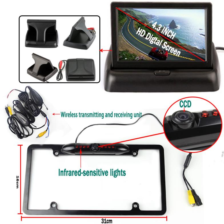 Car Styling Parking System with Auto Rear View Camera 4.3'' Foldable Monitor Wireless Transmitter Black License Plate Holder xy 3026 car front and rear view camera control box system switch black