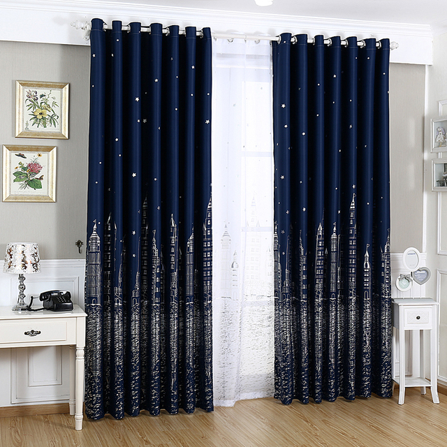 funique european style hot silver castle pattern decorative curtain full light shading drapes curtain for bedroom