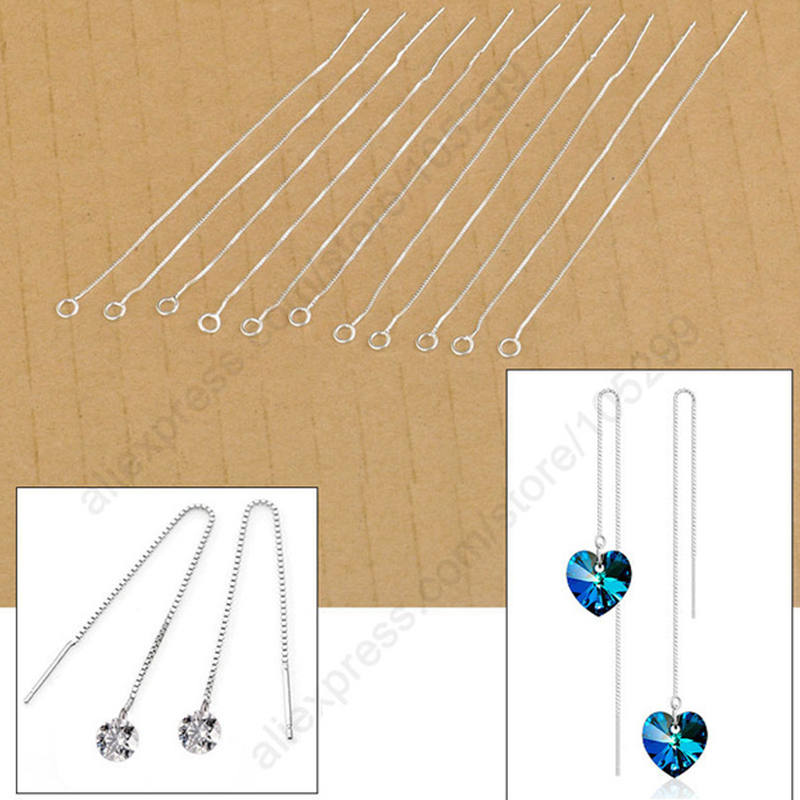 20 PCS Lot Real 925 Sterling Silver Long Thread Ear Chains For Women Dangle Earrings DIY Finding Accessories